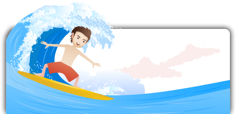 Animation of a boy surfing in the ocean